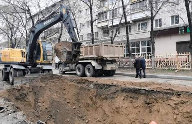 Ремонт теплотрассы по ул. Горького начался в Биробиджане