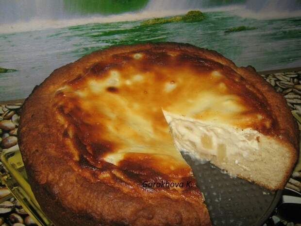Пирог с творожной начинкой и ананасами