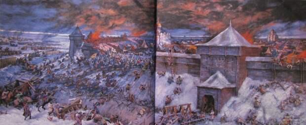 Оборона Старой Рязани. Реконструкция Е.И. Дешалыта