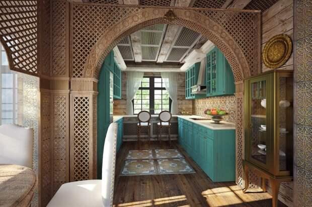 Арка вместо двери в узкую кухню.