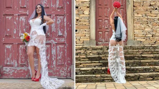 Невеста поразила Сеть свадебным платьем с прозрачной юбкой