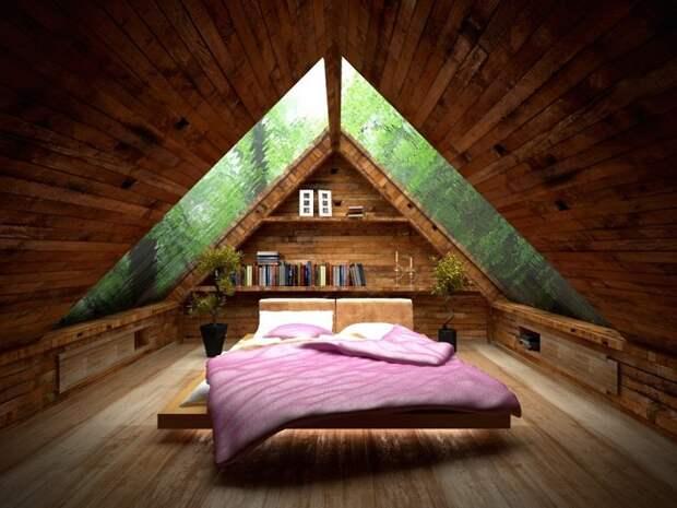 Оптимальный интерьер спальной оформленной в дереве, что точно вдохновит на большие эксперименты в декорировании комнат.