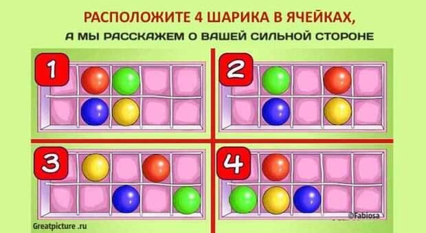 Тест: Расположите 4 шарика в ячейках, а мы расскажем о вашей сильной стороне