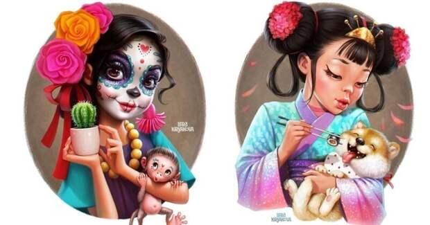 Русская художница нарисовала очаровательные мультяшные версии девушек из разных стран