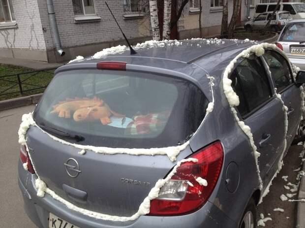 Решили наказать автохама за неправильную парковку? Волшебный баллон вам помощь! монтажная пена, пена, прикол, юмор