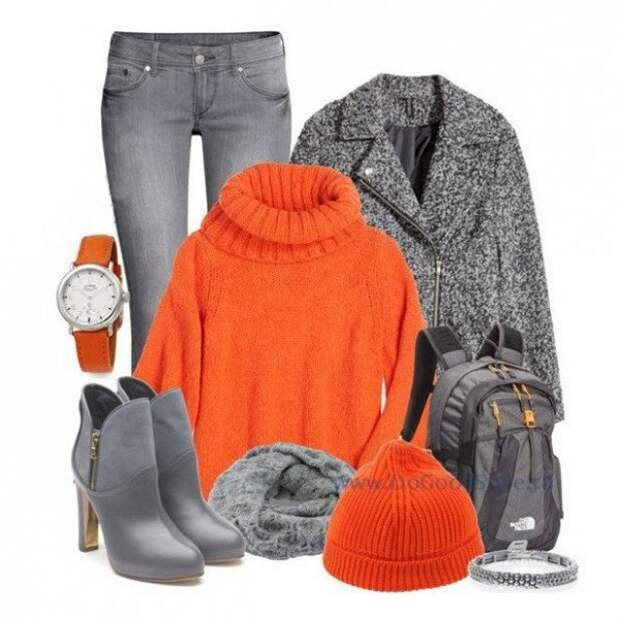 Оранжевый и серый: 10 идей, как выглядеть ярко каждый день зимы