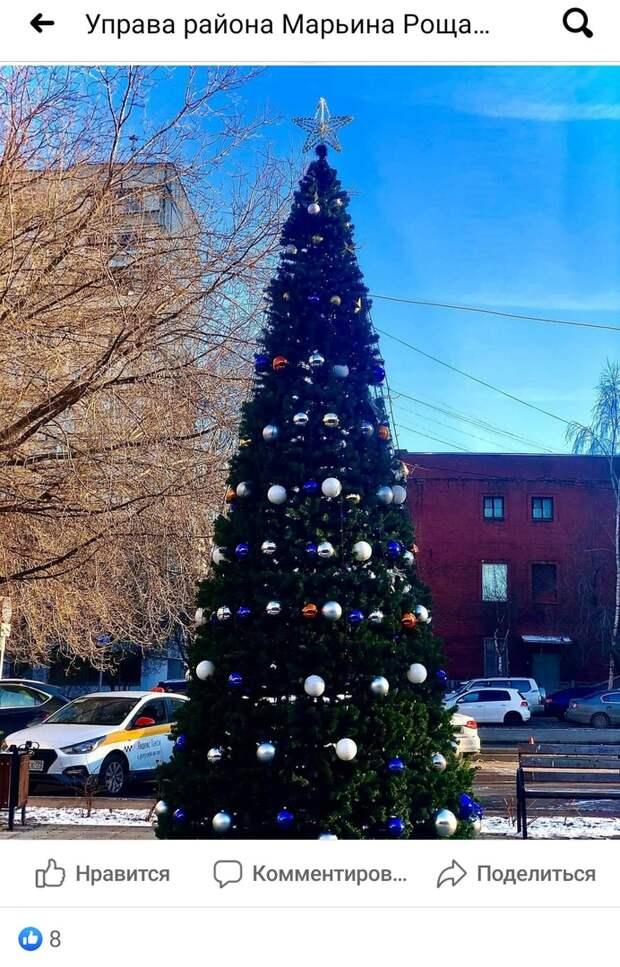 Фото дня: в Марьиной роще установили новогоднюю ёлку