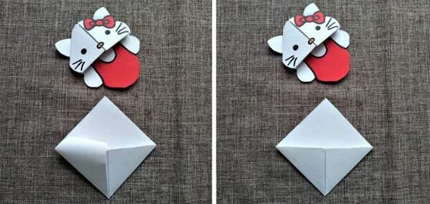 "МАСТЕРИЛКА. Оригами-закладка ""Хелло Китти"""