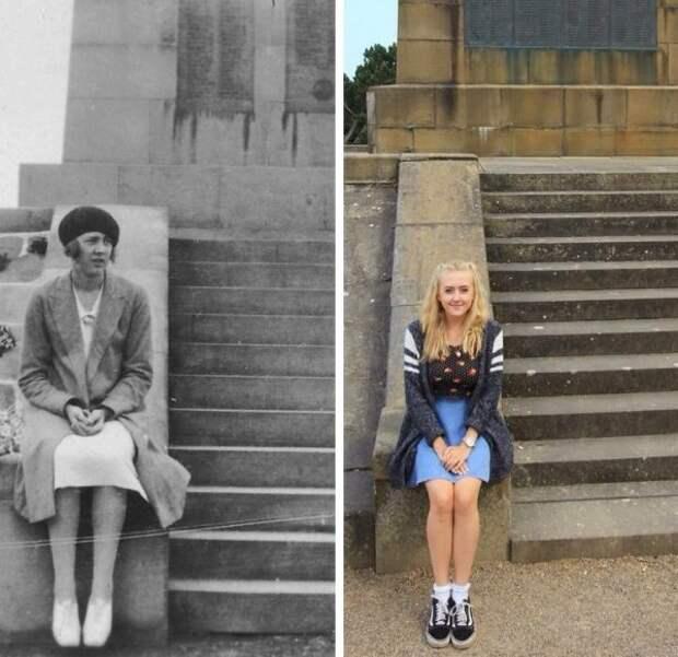 Правнучка повторяет фотографию своей прабабки спустя 89 лет