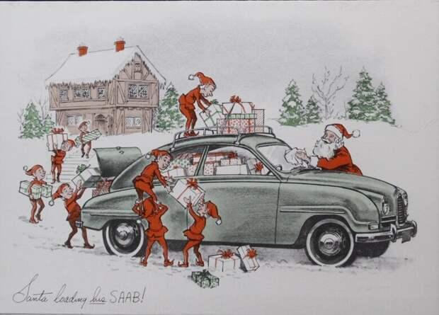 открытка с Новым годом от SAAB