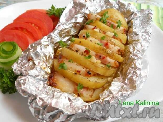 Картофель с салом в фольге