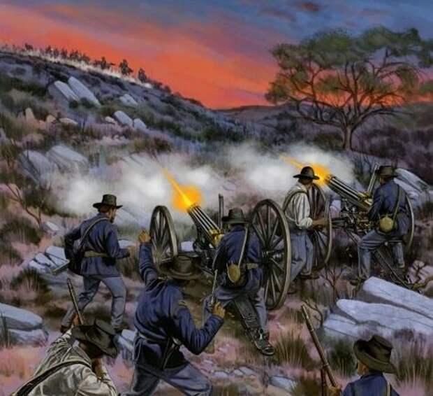 Пулеметы Гатлинга, использованные против шайенов 30 августа 1874-го. Иллюстратор: Johnny Shumate