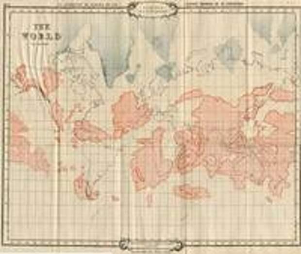 Карта Лемурии на фоне современных континентов: красным показана Лемурия, синим — остатки Гипербореи (из книги Уильяма Скотт-Эллиота «Лемурия — исчезнувший континент»). Источник: https://ru.wikipedia.org/