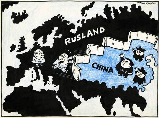 Хрущев и Мао отделились друг от друга железной стеной