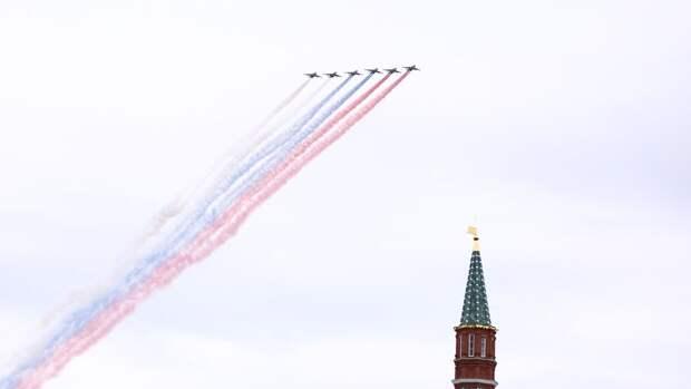 Появилось видео воздушной части парада Победы в Москве