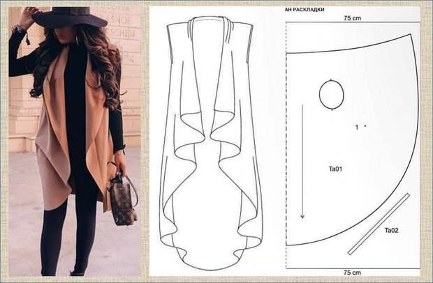 Удлиненный жилет и накидка без рукавов - идеи и выкройки в ваши копилочки