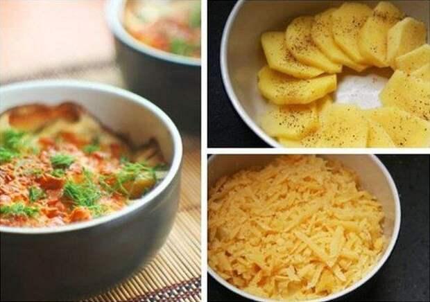 Картофель, запеченный в сливках с сыром