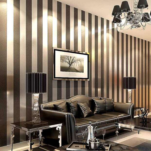 Elegant modern living room with striped wallpaper
