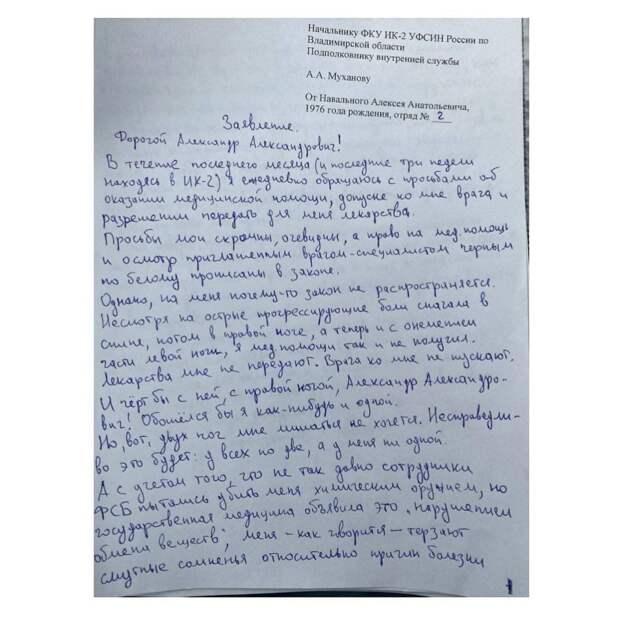 Навальный ожидаемо объявил голодовку