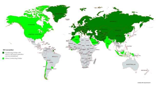 Зеленый - страны-участницы TIR. Салатовый - страны-партнеры TIR. /Фото: wikimedia.org.