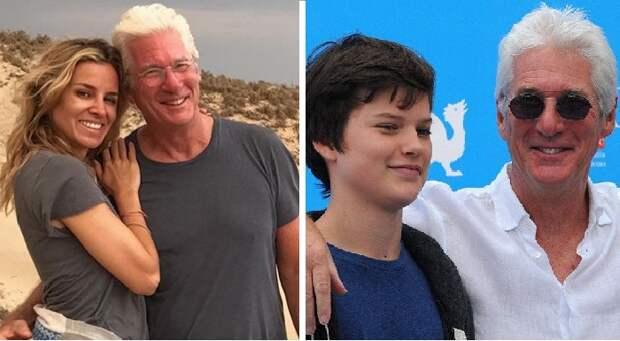 Ричард Гир и третья супруга актера Алехандра Сильва. / Ричард Гир со старшим сыном Гомером.