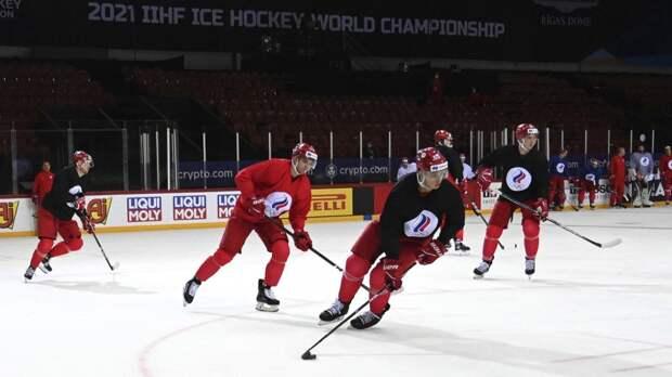 Хоккеисты сборной России провели первое тренировочное занятие в Риге