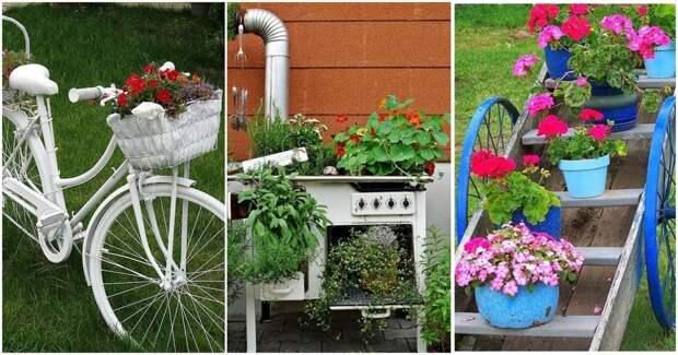 Простые способы создать уникальное садовое искусство из барахла