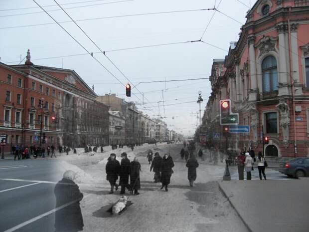 Ленинград 1942-2009 Невский проспект. Аничков мост блокада, ленинград, победа