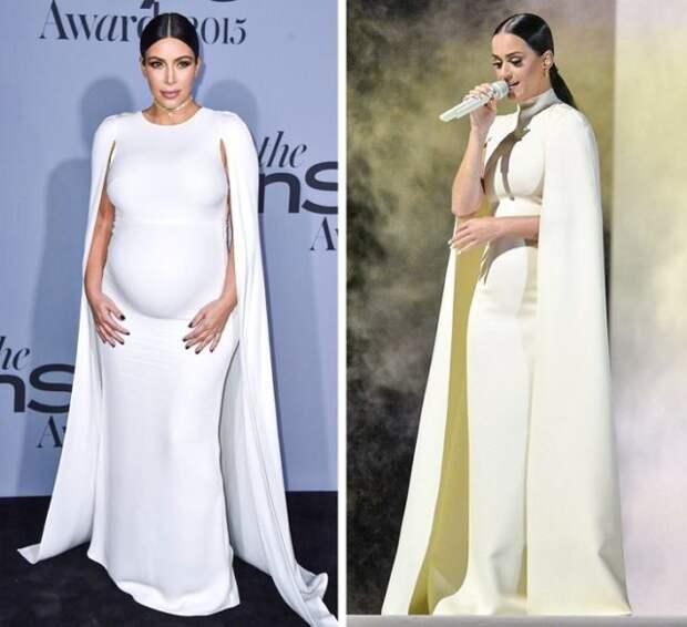 ким кардашьян и кэти перри в длинном белом платье