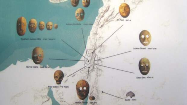 Photo of Israel Museum's map of mask origin sites (photo credit: Ilan Ben Zion/Times of Israel staff)