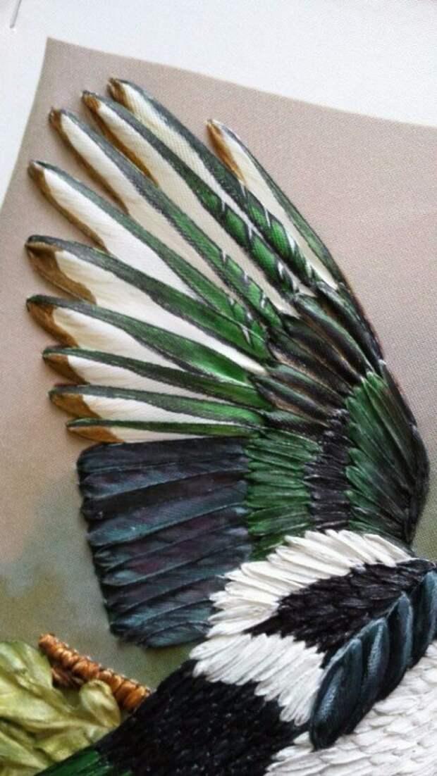 Вышивка лентами.Просто шедевральная Сорока от Марины Борзенко.