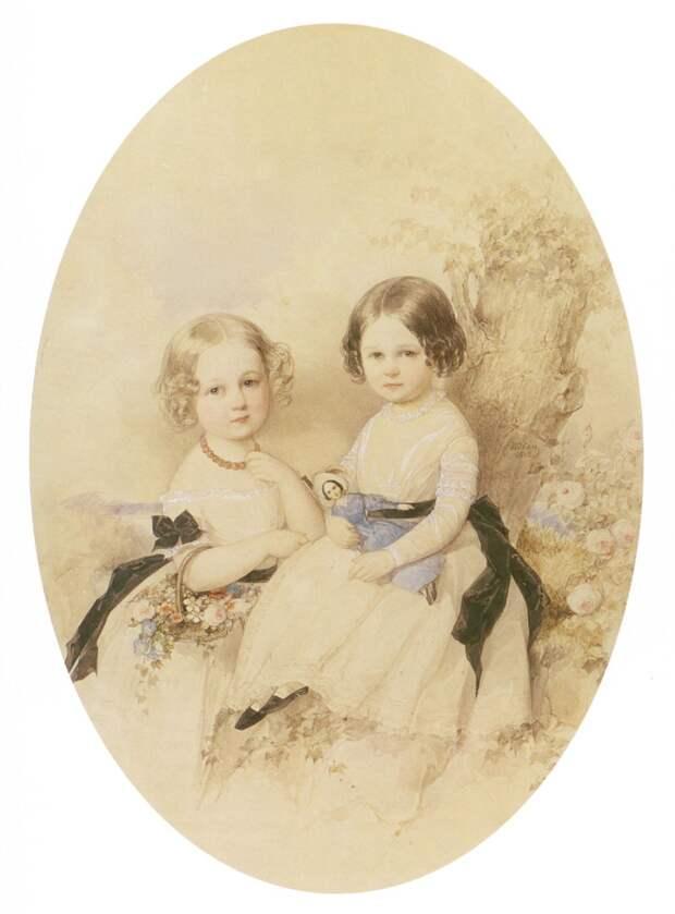 Мария и Вера, дочери Марии Бек. худ. В. И. Гау. 1842 г. Источник: WikiCommons