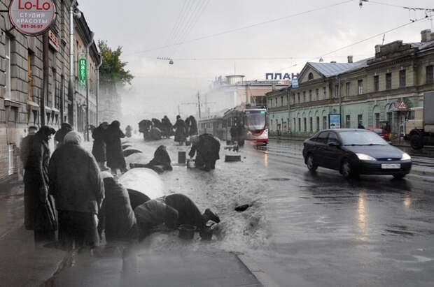 Ленинград 1942-2011 Звенигородская улица. У водоразборной колонки блокада, ленинград, победа
