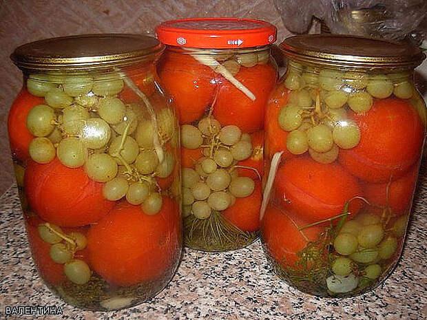 Очень вкусные помидоры с виноградом