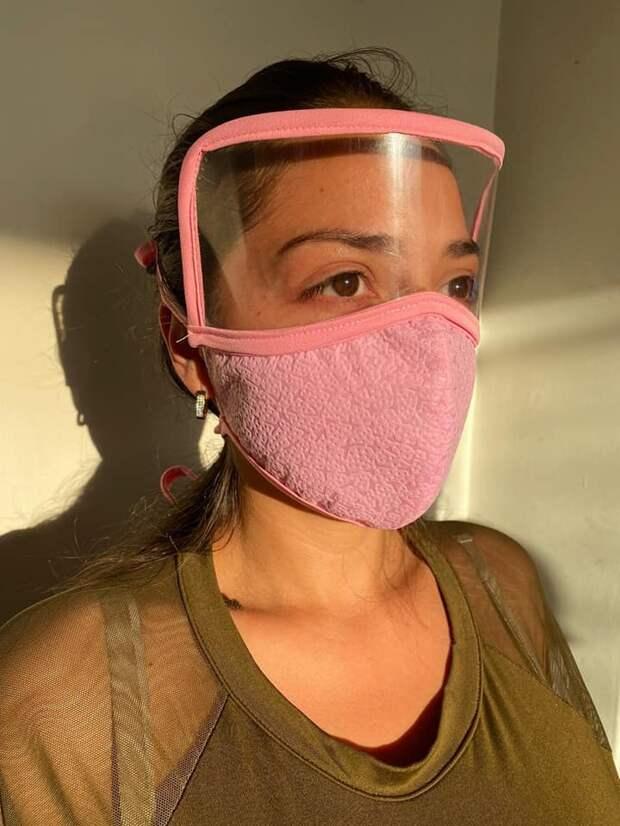 Выкройка медицинской маски с пластиковой защитой глаз DIY