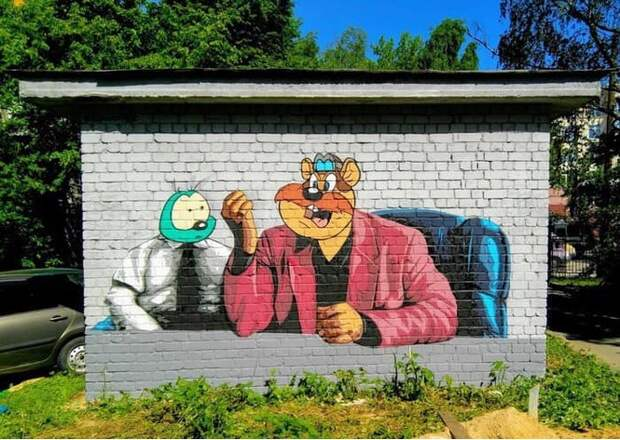 В Нижнем Новгороде появилось граффити по мотивам фильма «Жмурки» и мультика «Чип и Дейл» (фото)