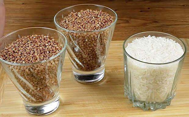 Делаем фрикадельки без затрат. Достаточно 2 стакана гречки и 1 стакана риса