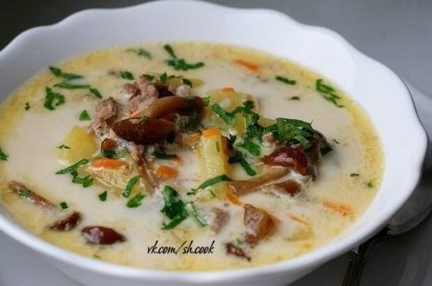 Сырный суп с опятами и куриным фаршем