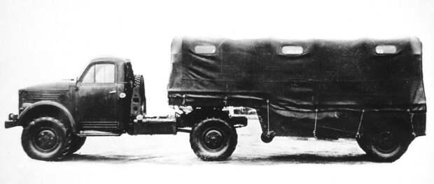 Активный автопоезд с тягачом ГАЗ-63Д и грузопассажирским полуприцепом (из архива НИИЦ АТ) авто, автопоезд