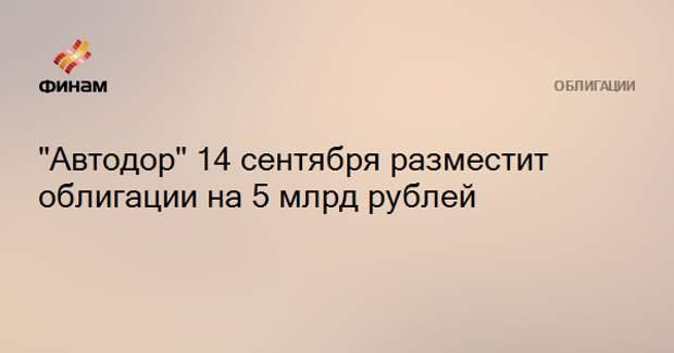 """""""Автодор"""" 14 сентября разместит облигации на 5 млрд рублей"""