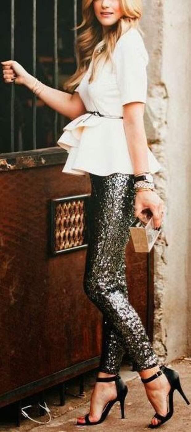 Серебрянные брюки серебро металлик