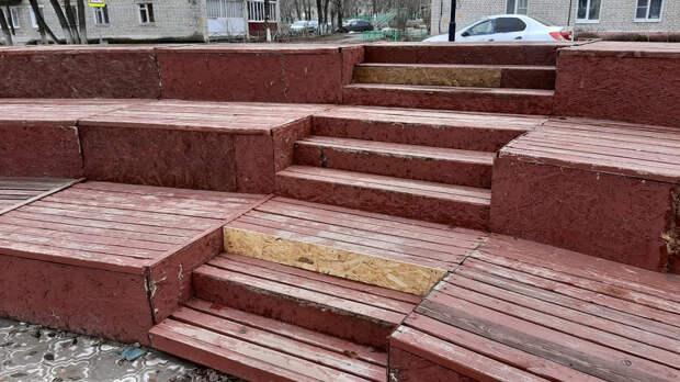 Эксперты ОНФ выявили недобросовестное благоустройство сквера на улице 60 лет ВЛКСМ в Кулебаках