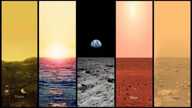 Утреннее небо на Венере, Земле, Луне, Марсе и Титане