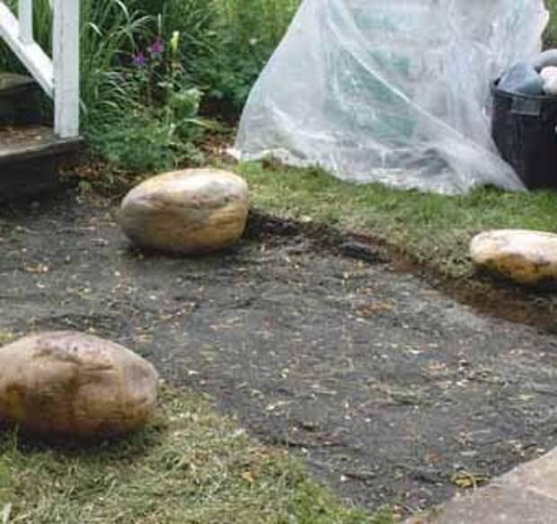 Утрамбуем подушку из гравия под садовую дорожку