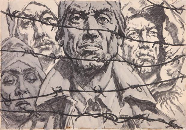 Картина Кобытева «Я вернусь к тебе, Россия». 1963 г. Бумага, уголь, черная акварель.