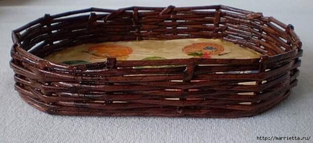 Плетение из газет. Корзинка для пасхальных яиц. Мастер-класс (1) (700x320, 177Kb)