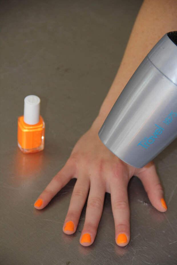 4. Высушить ногти Лайфхак, идеи, использование, фен