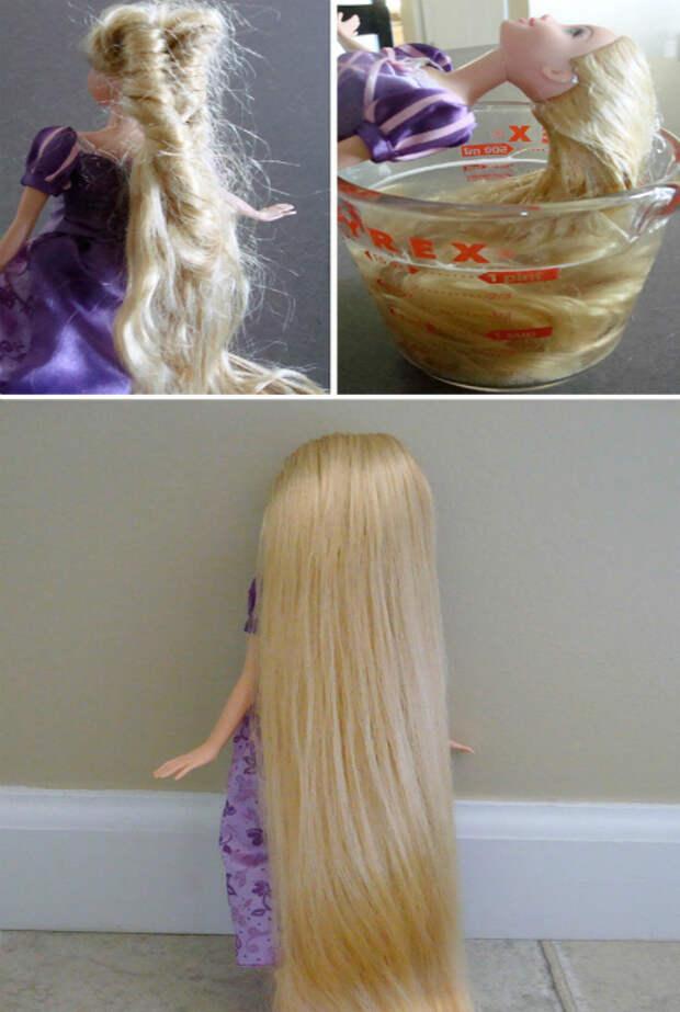 Спутанные кукольные волосы.
