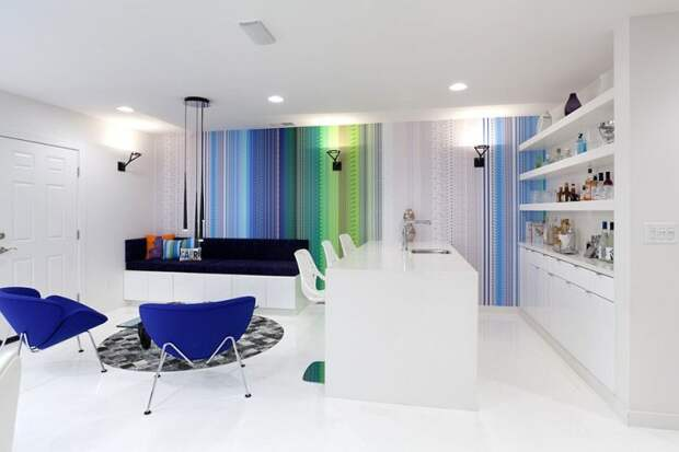 modern living room with colorful striped wall accent as focal point