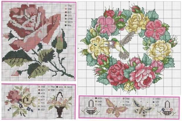 бесплатные схемы для вышивки крестом, подборка схем для вышивки розы, роза, цветы, букет, подушки с вышивкой